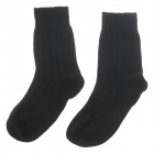 Casual Men's Wool Cotton Socks - Black (Pair)