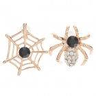 Elegant Spider And Spider Web shaped Zinc Alloy Earrings w/ Shiny Rhinestone Decorated - Golden