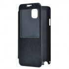 Silk Pattern Protective PU Leather Case w/ Visual Window and Stand for Samsung Note 3 - Black