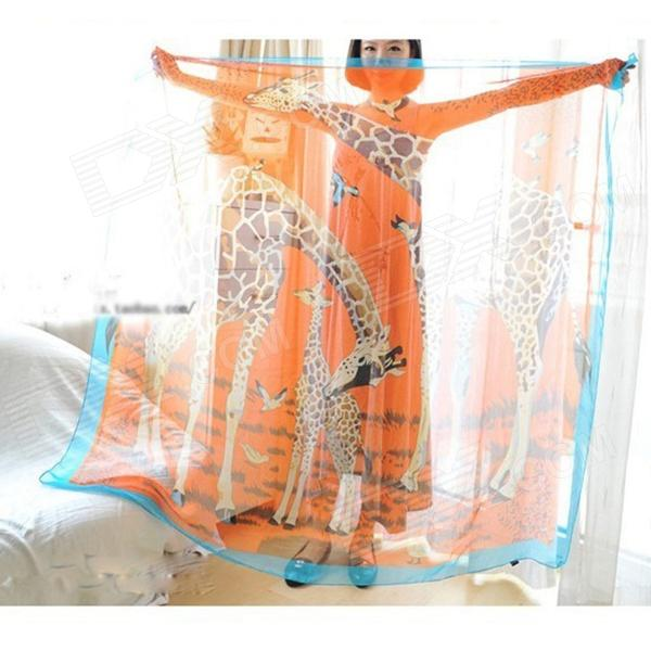 Elegant Style Design New Fashion Women Girl's Long Scarf Giraffe style Scarf Warp Silk Shawl