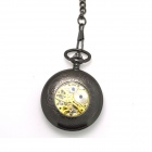 ZY-108 Retro Zinc Alloy Mechanical Analog Pointer Pocket Watch - Black