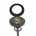 ZY-108 Retro Zinc Alloy mecânico analógico Pointer Pocket Watch - Preto