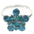 Elegance Flower Style Rhinestone Ring for Women - Blue + Silver (UK Size 16)