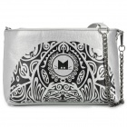 1019 Cat Pattern Casual PU Shoulder Bag for Women - Black + Silver