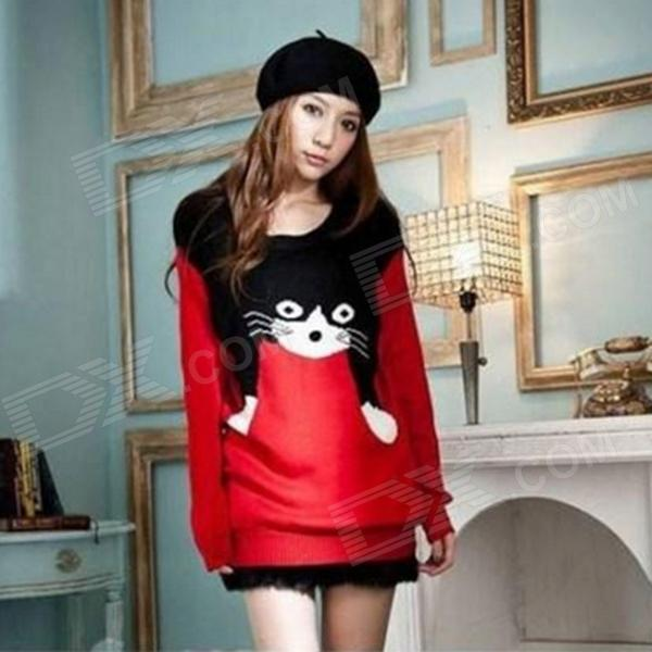 Fashion Cat Pattern Wool Loose Sweater for Women - Red + Black