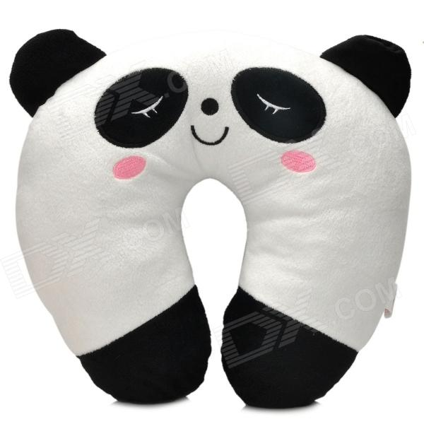 Cute Panda U-Style Car Travel Neck Head Cushion Pillow - White + Black hot sale cute dolls 60cm oblong animals pillow panda stuffed nanoparticle elephant plush toys rabbit cushion birthday gift