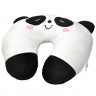 Cute Panda U-Style Car Travel Neck Head Cushion Pillow - White + Black