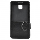 Protective Flip Open PU Leather Case w/ Display Window / Stand for Samsung Note 3 / N9000 - Black