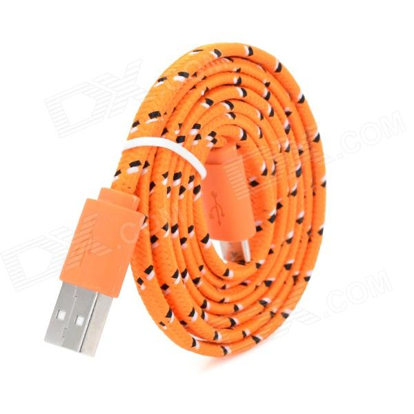 USB to Micro USB Data/Charging Woven Nylon Cable for Samsung / HTC / BlackBerry / Sony - Orange richino rs m01 usb to micro usb data charging cable for nokia samsung htc motorola orange