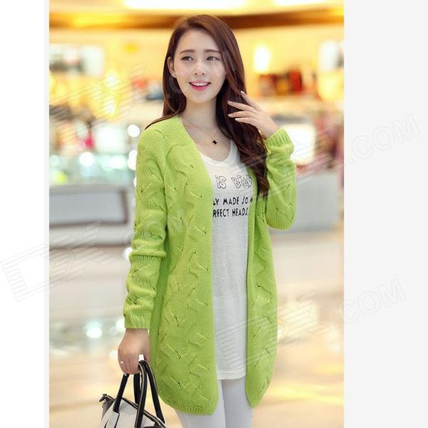 Fashion Wool Cardigan for Women - Fluorescent Green (Free Size) от DX.com INT