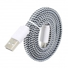 USB to Micro USB Data/Charging Woven Nylon Cable for Samsung / HTC / BlackBerry - Black + White