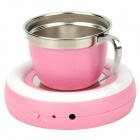 LJW-035 USB Powered Cup Heater Warmer w/ Stainless Steel Cup - Pink + Silver