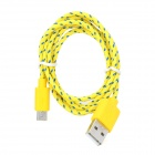 USB to Micro USB Data/Charging Woven Cable for Samsung / HTC - Yellow + Blue
