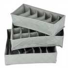 Bamboo Carbon Fiber Antibacterial Goods Management 3-in-1 Boxes Set - Grey