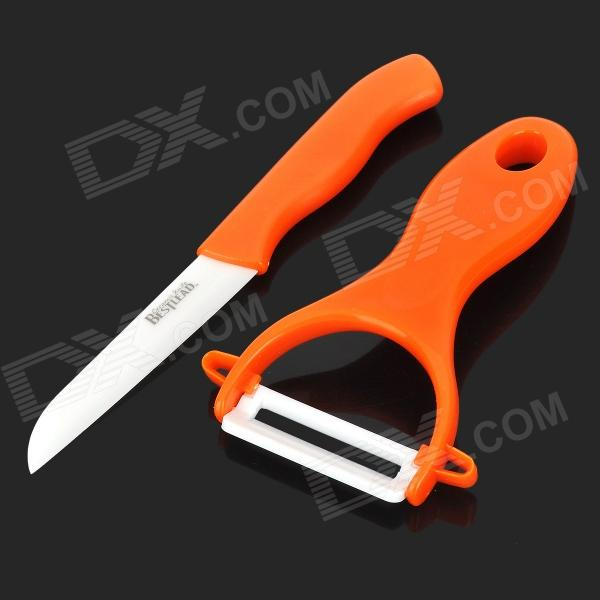 Bestlead Mini Ceramic Knife + Peeler Set - Orange + White bestlead 4 6 ceramics knife peeler set blue white