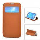 UFO Protective Leather Case w/ Display Window / Stand for Samsung S4 / i9500 - Brown