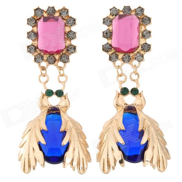 SHIYING D01132 Fashionable Punk Style Shiny Rhinestone Zinc Alloy Earring - Pink + Golden + Blue one piece punk style snake embellished earring for women