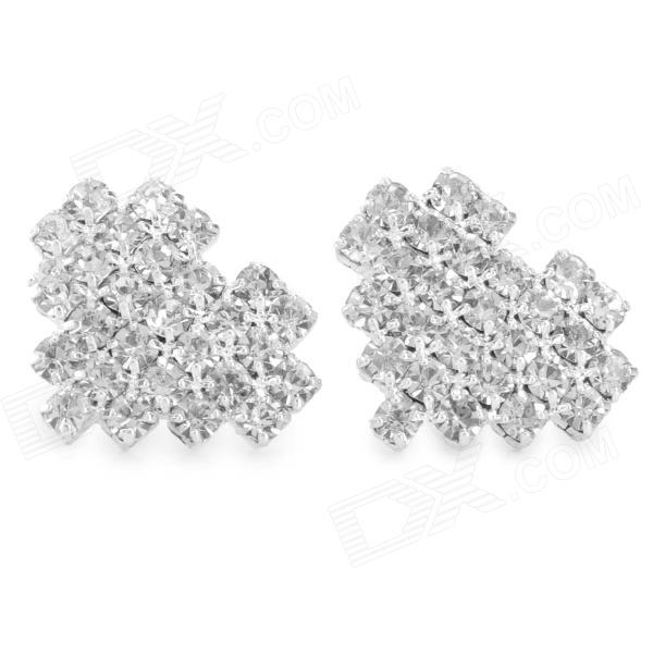 SHIYING D023 Fashionable Shiny Crystal Inlaid Heart Shaped Earrings - Silver (2 PCS) fashionable dice style shiny crystal decorated zinc alloy ashtray silver