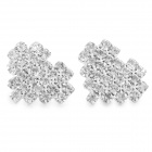 SHIYING D023 Fashionable Shiny Crystal Inlaid Heart Shaped Earrings - Silver (2 PCS)