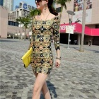 Fashion Polyester Fancy Pattern Three-Quarter Sleeves Slim Dress for Women - Multicolored (M)