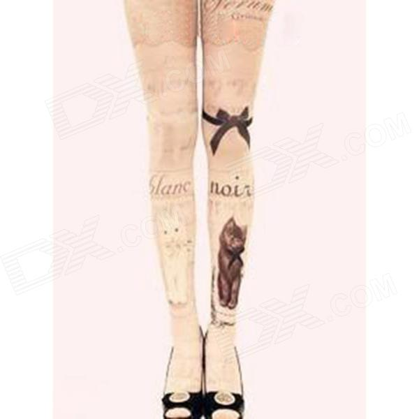 CQW-01 Cat Tattoos Pattern Women's Velvet Stockings Tights - Pink