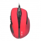 MC-086 Wired USB 2.0 600/1000/1600dpi Optical Mouse - Red + Black