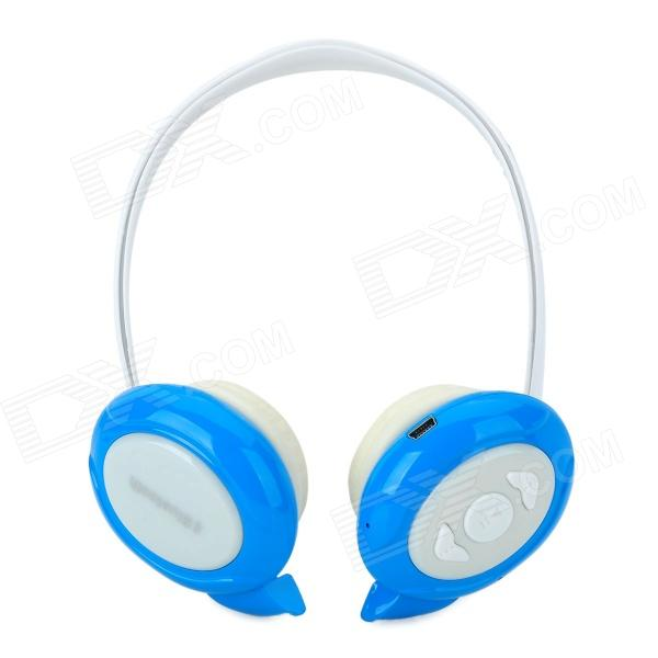 Qiyin BT-968 Stylish Stereo Bluetooth v3.0 + EDR Headphones w/ Microphone - White + Blue qiyin bt 990 stylish bluetooth v3 0 edr wireless stereo headset w microphone black silver