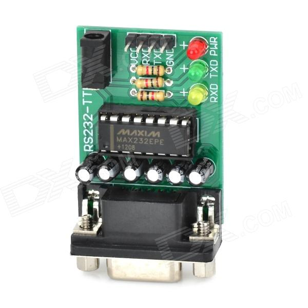 RS232-TTL Level Converting Board / STC Programmer w/ Cables - Green + Black