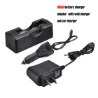 SingFire USC-D3 Single Groove 18650 Charging Block w/ Charger + Car Charger - Black (100~240V)