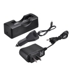 SingFire HX-101 Single Groove 18650 Charging Block w/ Charger + Car Charger - Black (100~240V)