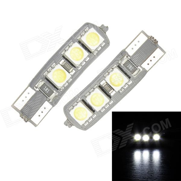 Merdia T10 3.5W 60lm 6-SMD 5050 LED White Light Canbus Decoded Car License Plate Lamp - (2PCS / 12V) 2x canbus 3528smd led license plate light number plate lamp car light bulbs for opel vectra c estate 2002 2008 car light source