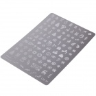 103-in-1 Merry Christmas Style Stainless Steel DIY Nail Polish Art Stamp Plate - Silver