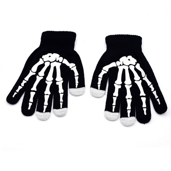 Stylish Skeleton Pattern Woolen Yarn Capacitive Screen Touching Hand Warmer Glove - Black (Pair)