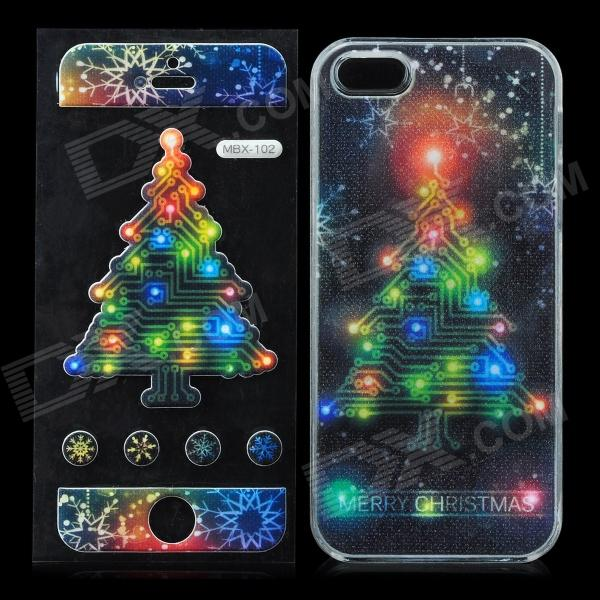 Christmas Style Plastic Back Case w/ 7-Color Flash / Screen Sticker for Iphone 5 - Multicolored plastic back case w calling 7 color flash contract switch for iphone 4 4s pink black