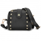 Fashionable Rivet PU Leather Single Shoulder Satchel Bag - Black