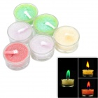 SYVIO BOAI Colored Flame Candles in Glass Holder for Romantic Party - Multicolored (6 PCS)