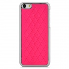 Ultrathin Gridding Pattern Protective Plastic + PU Back Case for iPhone 5c - Deep Pink + Silver
