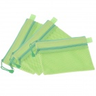 Reticulation Double-Deck Zipper Style A6 Canvas Document Bag - Fluorescent Green (3 PCS)