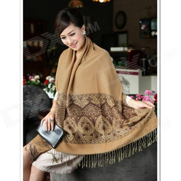 BNWJ-1 Fashionable Traditional Patterned Warm Cotton Scarf Wraps - Coffee