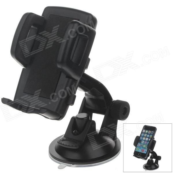 H01 180 Degree Rotation Suction Cup Holder w/ C47 4.3~5 Back Clip Bracket - Black h08 360 rotation 4 port suction cup holder w silicone back clip for iphone 4 4s 5 ipad mini ipod