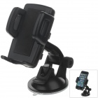 "H01 180 Degree Rotation Suction Cup Holder w/ C47 4.3~5"" Back Clip Bracket - Black"