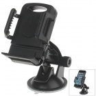 "H01 180 Degree Rotation Suction Cup Holder w/ C66 4~5.4"" Back Clip Bracket - Black"