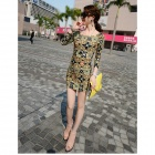 Fashionable Retro Patterned Dacron Skinny Dress - Multicolored (L)