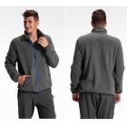 TECTOP Men's Fashionable Warm Polar Fleece Zipper Coat - Grey (XXL)
