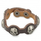 Fashionable Punk Style Little Skull Decorated Split-leather Bracelet - Coffee