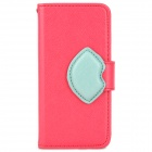 Protective PU + TPU Flip Open Case w/ Strap / Card Slots for iPhone 5 - Deep Pink + Light Green