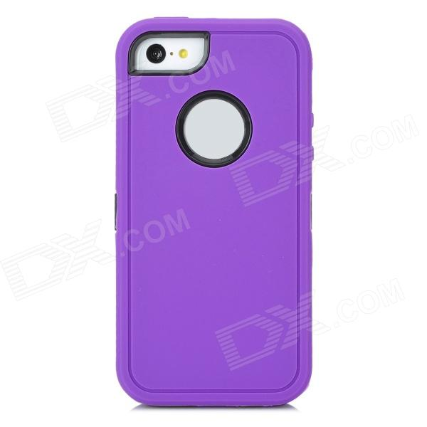Robot Style Protective Plastic + Silicone Back Case for Iphone 5C - Purple + Black small holes style protective pe back case for htc one x s720e purple
