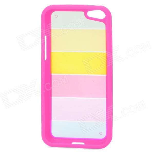 все цены на Rainbow Pattern Protective PC + TPU Back Case for Iphone 5C - Deep Pink + Yellow онлайн