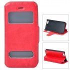 53009 Protective PU Leather + Plastic Case w/ Dual Windows for Iphone 5C - Red