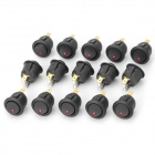 A051 3-Pin Round Rocker Switches w/ LED Indicator - Black + Silver + Golden (15 PCS)